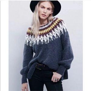 Free People Baltic Fairisle Gray Chunky Sweater S
